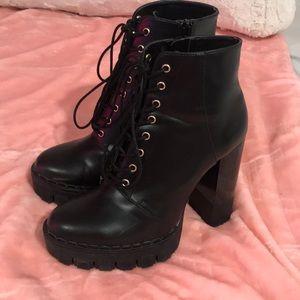Zara black boots high thick heel